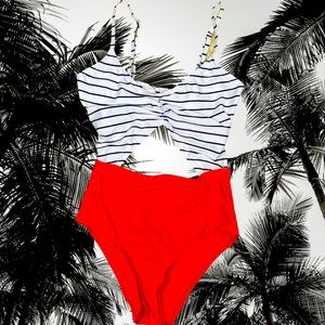 M Wolf & Whistle Nautical One Piece Swimsuit